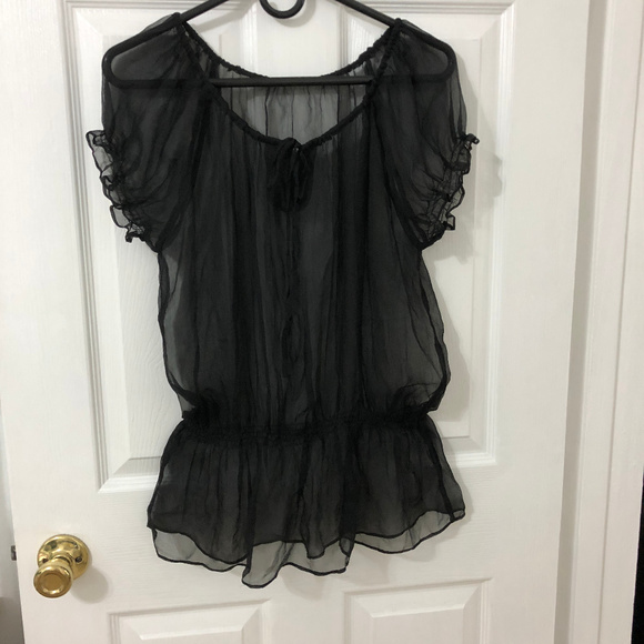 1e70ee38bb10c The little black top.. silk peasant style camisole